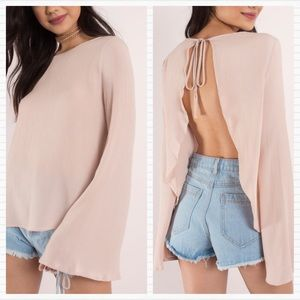 New TOBI Nude Rose Open Back Anissa Blouse